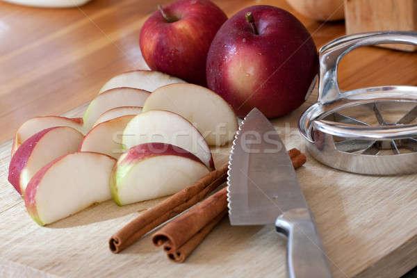 Stock photo: Sliced Apple and Cinnamon Sticks