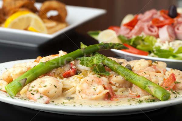 Shrimp Scampi with Asparagus Stock photo © ArenaCreative