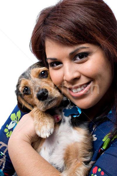 Woman Cuddling a Puppy Stock photo © ArenaCreative