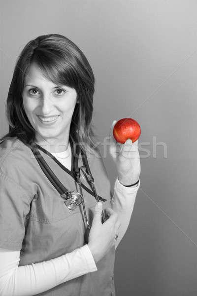 Foto stock: Enfermeira · maçã · jovem · dia · médico