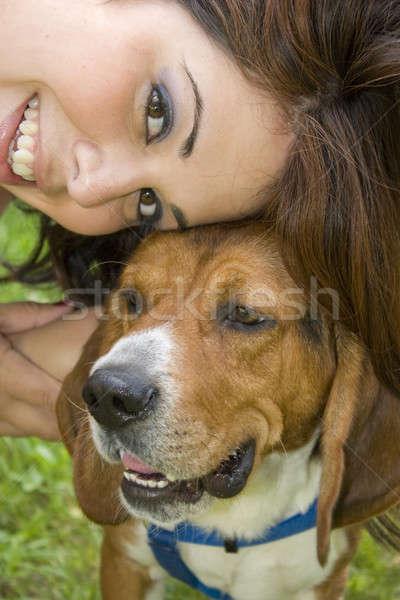Legjobb haverok csinos lány pózol kopó Stock fotó © ArenaCreative