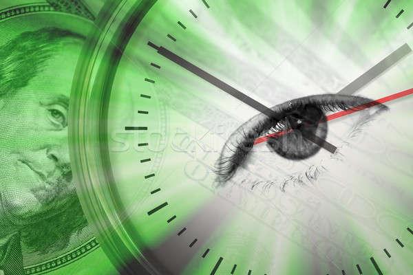 Время-деньги монтаж вокруг деньги часы глаза Сток-фото © ArenaCreative