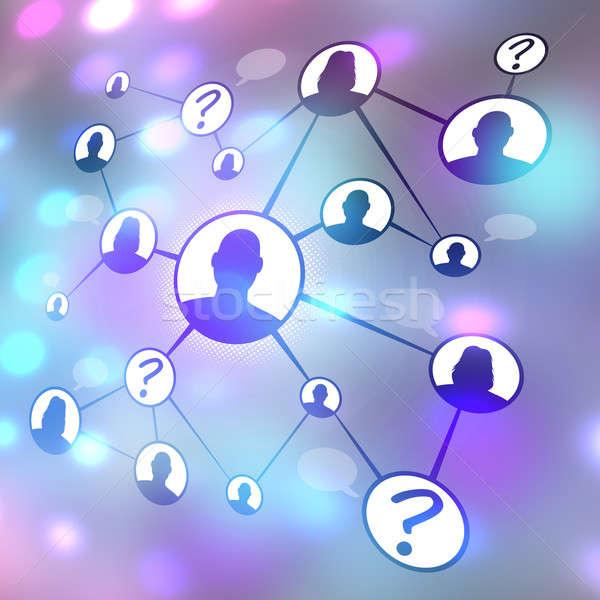 Közösségi média barátok diagram folyamatábra különböző férfiak Stock fotó © ArenaCreative