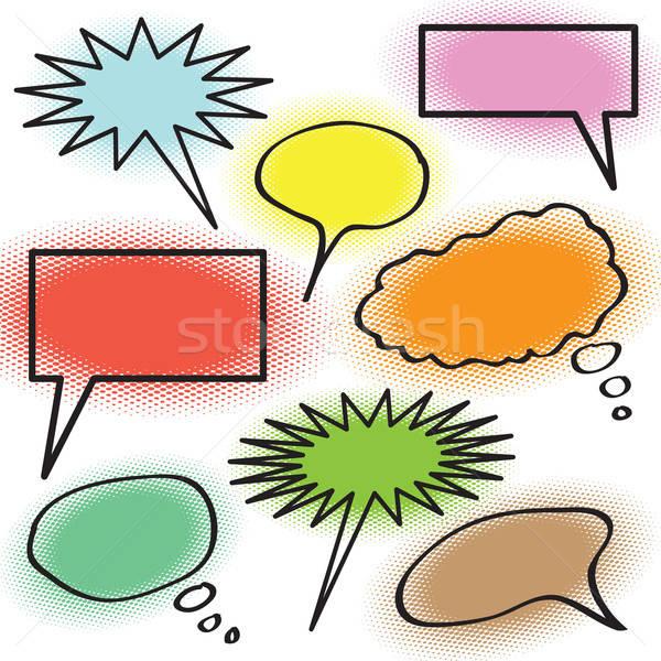 Burbuja de pensamiento colección pensamiento burbujas medios tonos colores Foto stock © ArenaCreative