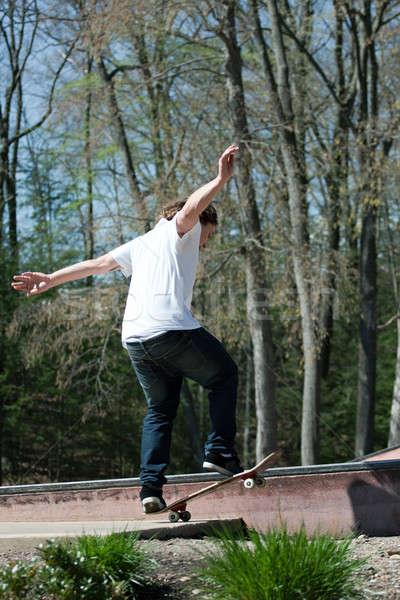 Skater rail acción tiro patinaje skate Foto stock © ArenaCreative
