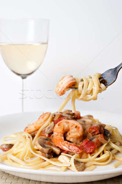 Shrimp Scampi with Pasta Stock photo © ArenaCreative