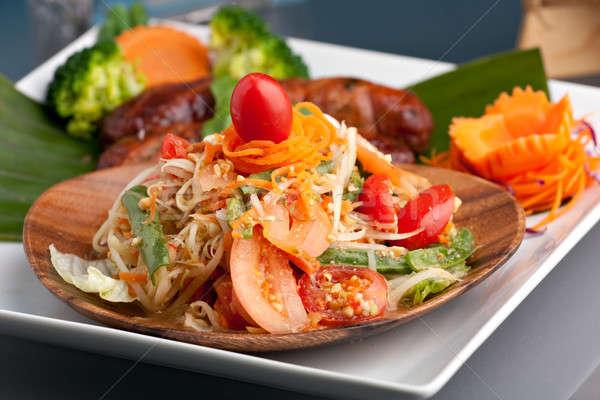 Thai kolbász saláta hagyományos edény frissen Stock fotó © ArenaCreative