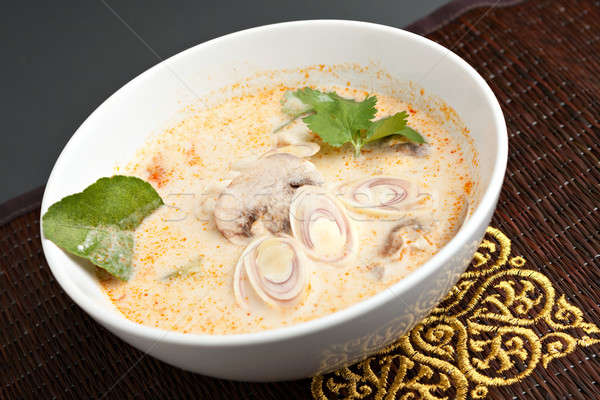 Tailandés coco curry sopa cremoso setas Foto stock © arenacreative