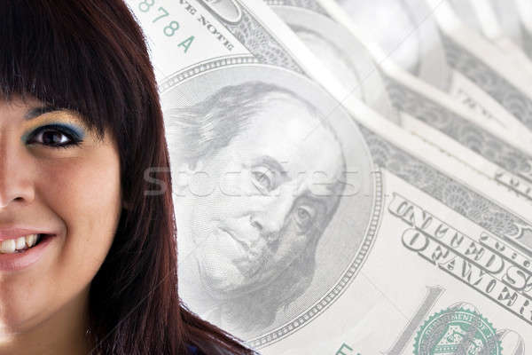 Başarılı kadın zengin gülümseyen kadın para bo Stok fotoğraf © ArenaCreative