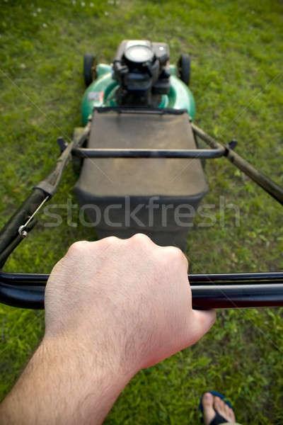 Toló fűnyíró érdekes pont kilátás férfi Stock fotó © ArenaCreative