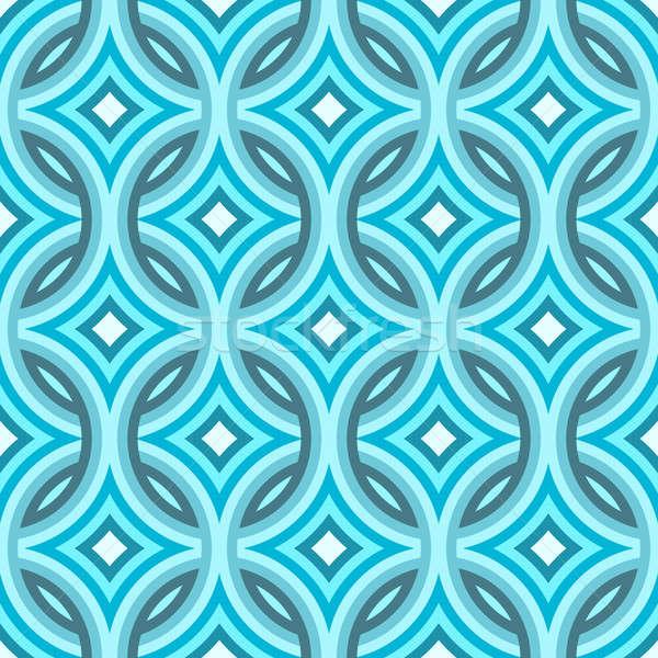 青 ダマスク織 パターン ダイヤモンド タイル ストックフォト © arenacreative