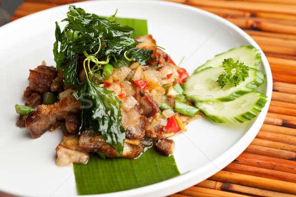 タイ ぱりぱり 豚肉 食事 伝統的な 皿 ストックフォト © ArenaCreative