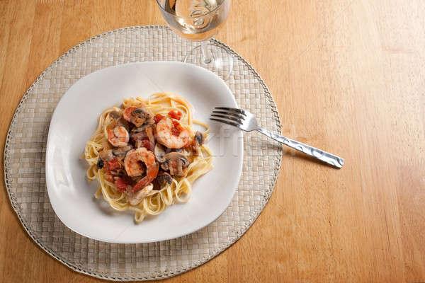 Сток-фото: креветок · пасты · блюдо · грибы · помидоров