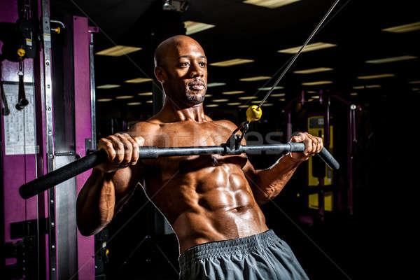 Súlyemelés edzés test építész edz tornaterem Stock fotó © arenacreative