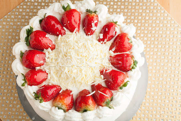 Stock photo: White Chocolate Strawberry Cake