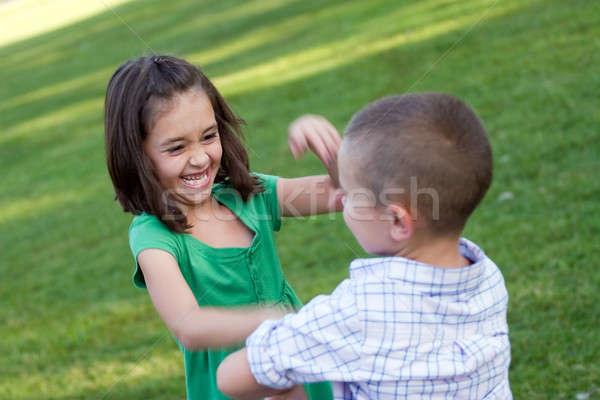 Crianças áspero habitação dois jovem irmão Foto stock © ArenaCreative