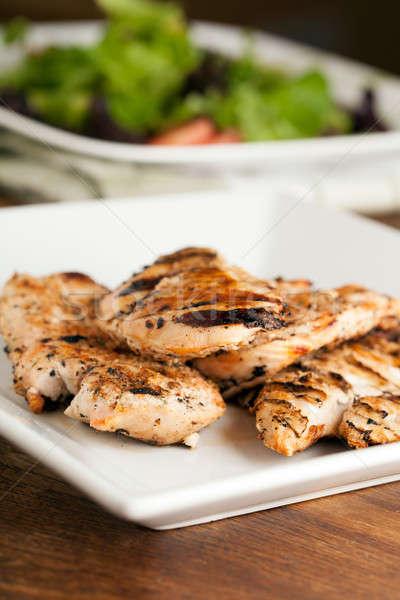 Stockfoto: Gegrilde · kip · salade · vers · bereid · borsten · ingrediënten