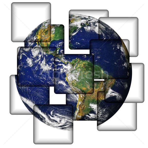 Aarde tegels bos vierkante water wereldbol Stockfoto © ArenaCreative