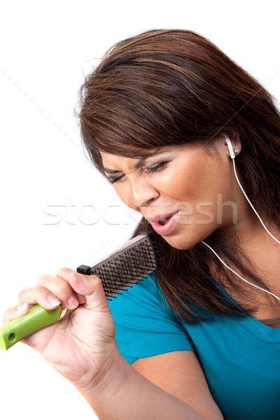 şarkı söyleme saç fırçalamak koyu esmer kadın Stok fotoğraf © ArenaCreative