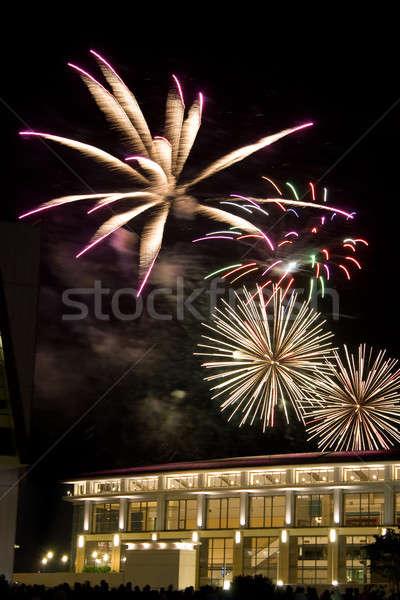 Stockfoto: Mooie · vuurwerk · donkere · nachtelijke · hemel · partij · gebouw
