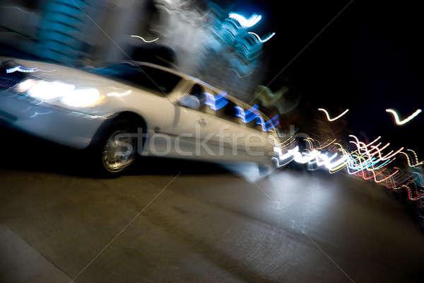 şehir gece soyut bulanıklık beyaz limuzin Stok fotoğraf © ArenaCreative