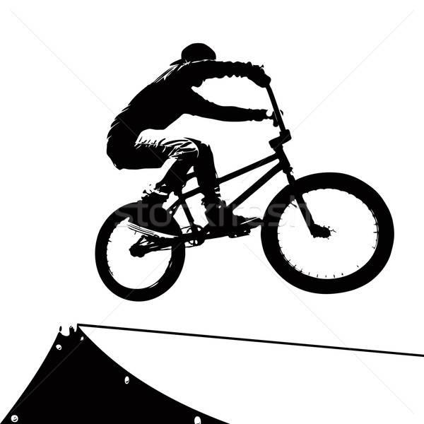 Extrém motoros sziluett magas kontraszt sportok Stock fotó © ArenaCreative