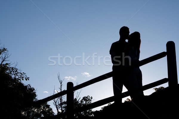 Stock photo: Kissing Couple Silhouette