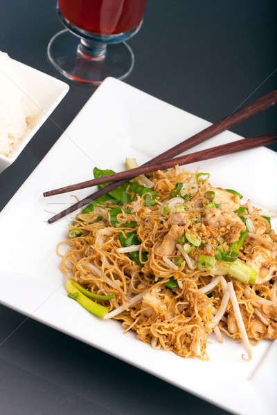 Thai Noodle Stir Fry with Chicken Stock photo © ArenaCreative