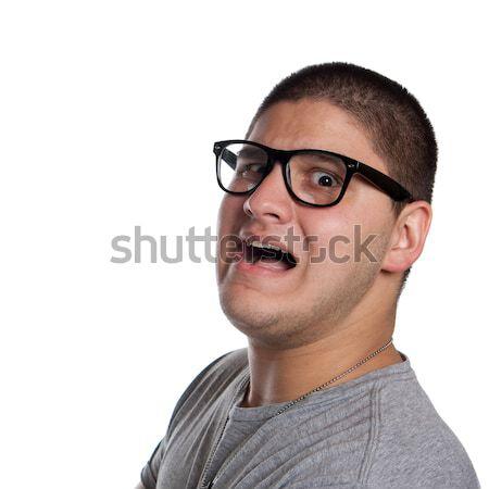 Ijedt tini fiatalember férfi visel trendi Stock fotó © ArenaCreative