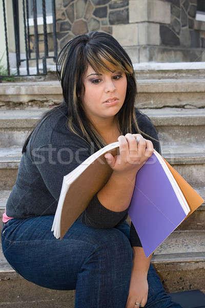 Praca domowa młoda kobieta notebooka obrzydzenie moc Zdjęcia stock © ArenaCreative
