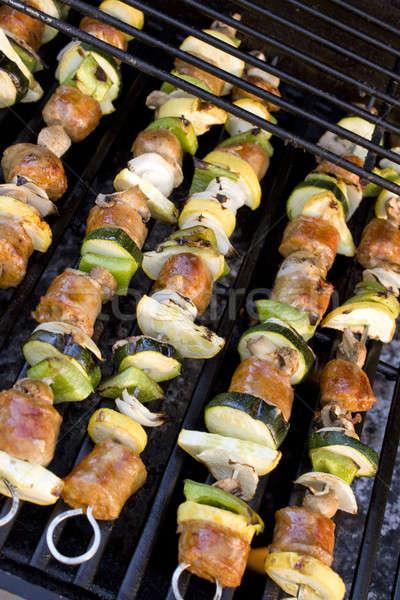 Stok fotoğraf: ızgara · sosis · pişirme · yaz · akşam · yemeği · kırmızı