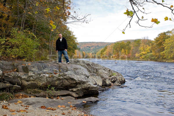 Vermont río hombre joven pacífico Foto stock © ArenaCreative