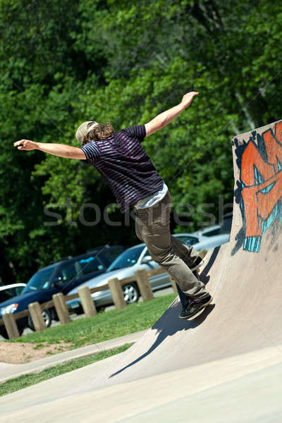 Skateboarder Riding Skate Ramp Stock photo © arenacreative
