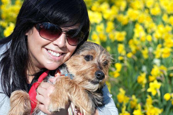 Uśmiechnięty dziewczyna psa cute terier Zdjęcia stock © ArenaCreative
