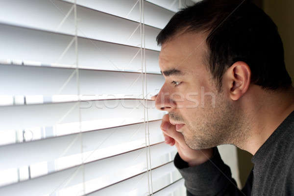 Férfi ijedt bosszús ki ablak fiatal Stock fotó © ArenaCreative