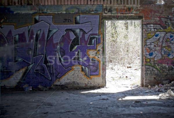 Graffiti fedett öreg elhagyatott festék labda Stock fotó © ArenaCreative