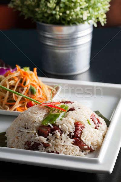 Thai Pork and Rice with Som Tum Salad Stock photo © arenacreative