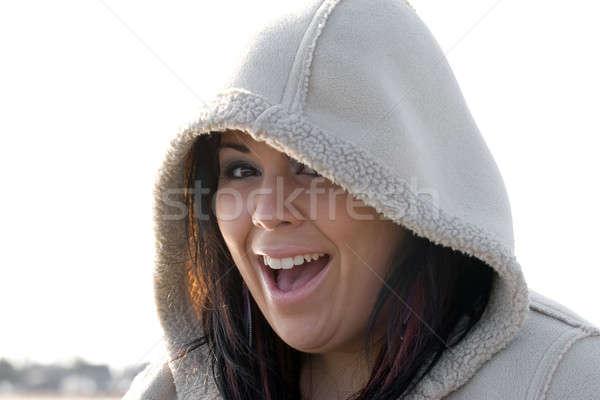 Happy Hooded Woman Stock photo © ArenaCreative