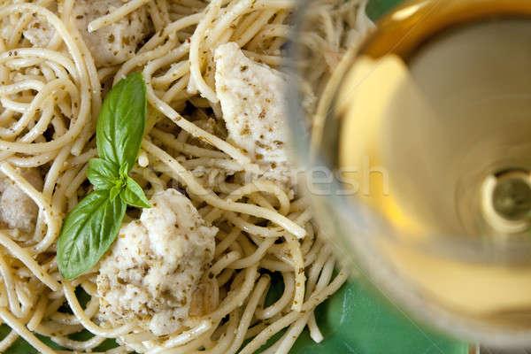 Garlic Chicken Pesto Pasta with Olive Oil Stock photo © ArenaCreative