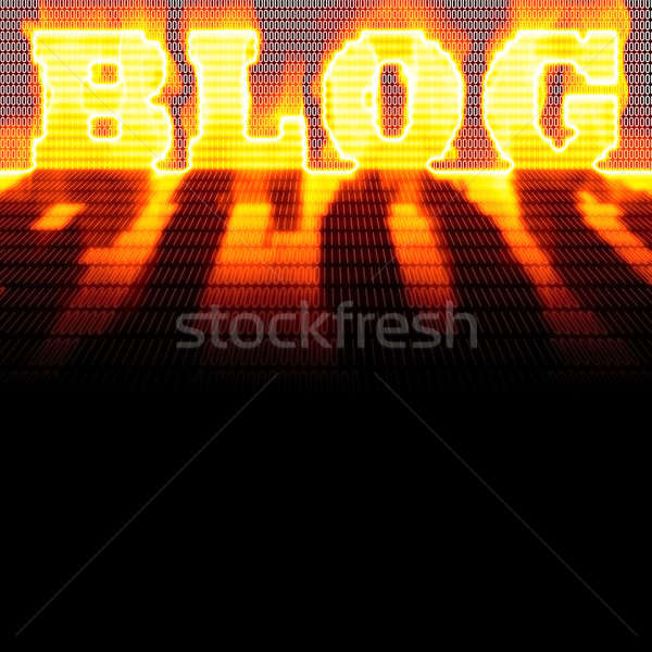 Blog montaj kelime dışarı ikili kod yanan Stok fotoğraf © ArenaCreative