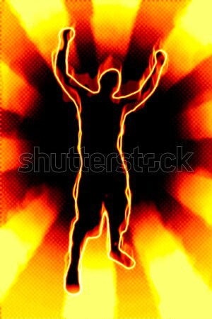 Fiery Man Silhouette Stock photo © ArenaCreative
