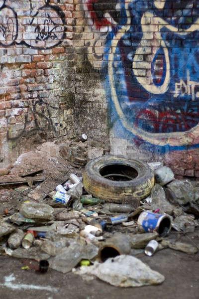 Gettó elhagyatott fedett szemét utca graffiti Stock fotó © ArenaCreative