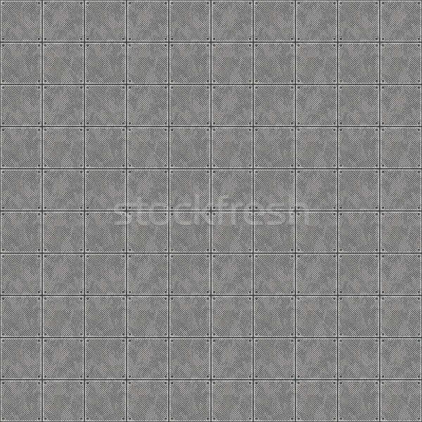 Stockfoto: Naadloos · metaal · patroon · plaat · pleinen · tegels