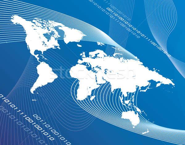 Мир глобализация Мир карта монтаж синий дизайна Сток-фото © ArenaCreative