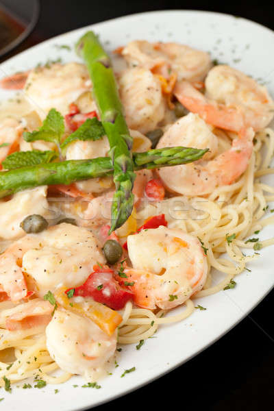 Сток-фото: креветок · пасты · итальянский · стиль · блюдо · спагетти