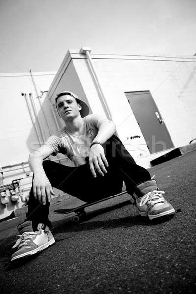Stock photo: Skateboarder Resting