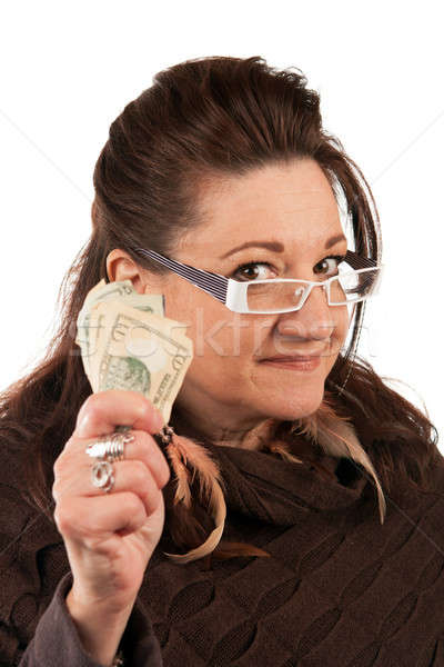 Vrouw cash brunette geld Stockfoto © arenacreative