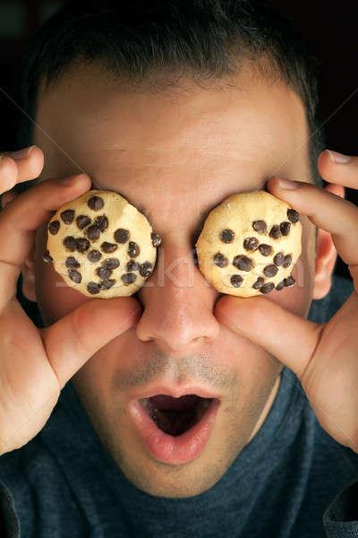Louco bolinhos homem bolinhos olhos comida Foto stock © ArenaCreative