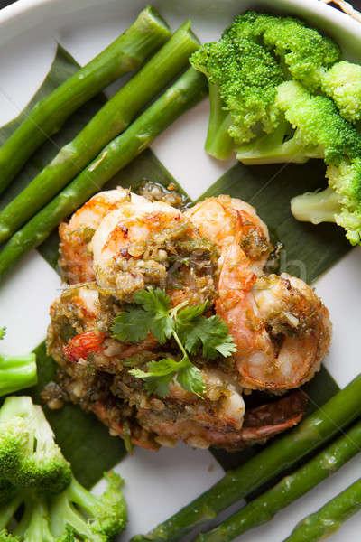 Stock fotó: Seattle · zöldségek · tengeri · hal · edény · brokkoli · spárga