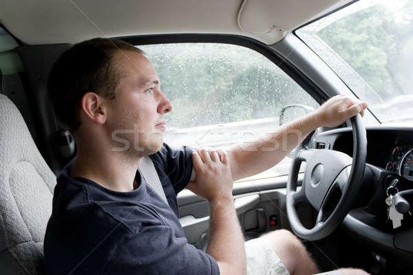Man rijden interieur jonge man van Stockfoto © ArenaCreative
